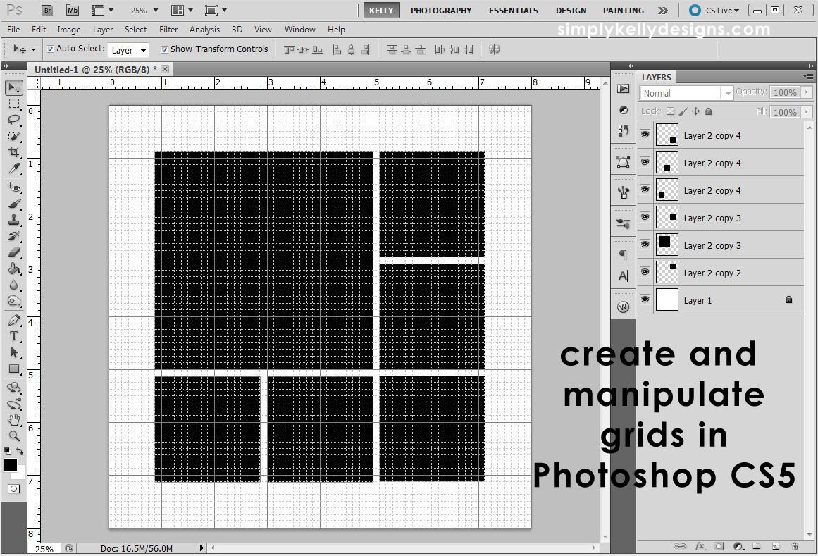 creating and manipulating grids in photoshop cs5 simply kelly designs. Black Bedroom Furniture Sets. Home Design Ideas