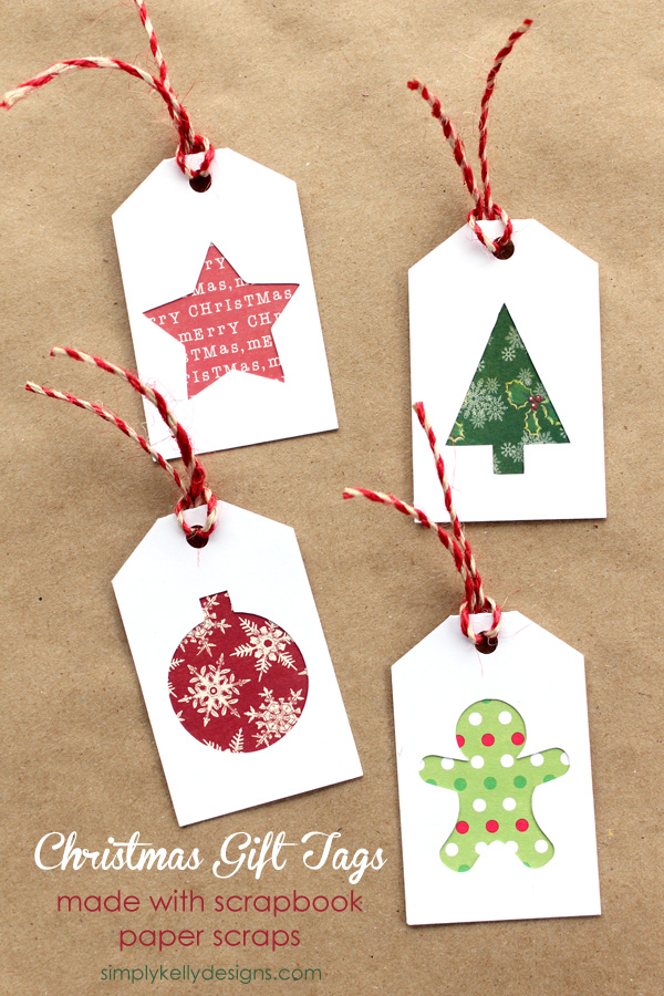 Diy christmas gift tags with scrapbook paper scraps and for Paper christmas gifts