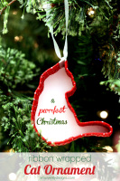 A Purrfect Christmas Ribbon Wrapped Cat Ornament