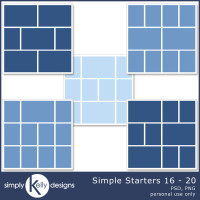 Simple Starters 16 to 20 Digital Scrapbooking Templates