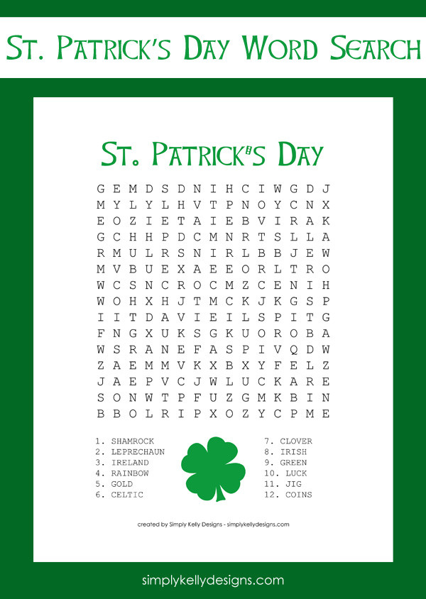 Free St Patricks Day Word Search Printable By Simply Kelly Designs